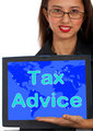 Tax Advice Computer Message Shows Taxation Help Online