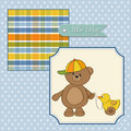 welcome baby card with boy teddy bear and his duck