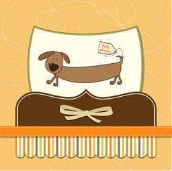 funny baby shower card with long dog stock vector