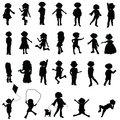 cartoon silhouettes children