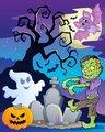 Scene with Halloween tree 6