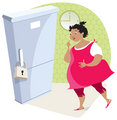 Dieting lady and fridge