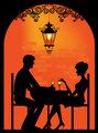 Silhouette of a Couple at restaurant