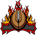 American Football Template with Flames Vector Image