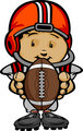 Smiling Football Kid with Helmet holding Ball  Vector Cartoon Il