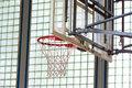 Basketball hoop in a gymnasium