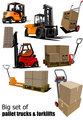 Big set of Forklifts and pallet trucks Vector illustration