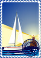 Postage stamp. Yacht at sea and the lighthouse.