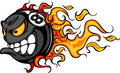 Billiards Eight Ball Flaming Face Vector Image
