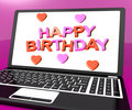 Happy Birthday On Laptop Computer Screen Showing Online Greeting