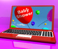 Baby Shower Balloons On Laptop As Birth Party Invitation