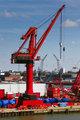 Big red crane in port