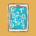 Tablet device waith abstract digits. Vector illustration, EPS10