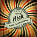 Vintage label with sample text on colorful rays aged background.