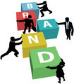 Business people build company brand