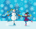 Girl with snowman skating
