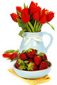 strawberry and bouquet flowers
