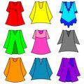 Vector set of fashionable  dresses for girl