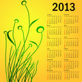 Stylish calendar with flowers for 2013. Week starts on Sunday. kalender 2013