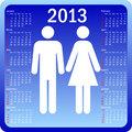 Stylish calendar family for 2013. Week starts on Sunday.