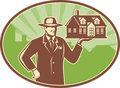 Realtor Real Estate Salesman House Retro