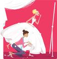Bride fitting a dress