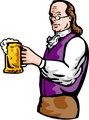 Benjamin Franklin or noble aristocratic gentleman holding mug of beer