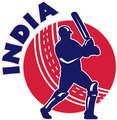 cricket batsman silhouette batting front view with ball with words India