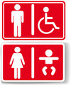 Restroom men women baby handicapped