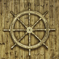 Decorative wooden ships wheel