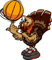 Basketball Thanksgiving Holiday Turkey Cartoon Vector Illustrati