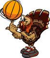 Basketball Thanksgiving Holiday Turkey Cartoon Vector Illustrati