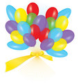 Ribbon balloon bouquet vector