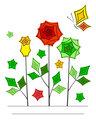 Artistic angular flower line art card