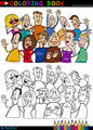 Happy People group for coloring