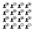 User communication, black icons set