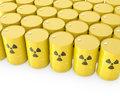 Barrels with radioactive symbol