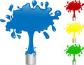 Blue, Red, Yellow and Green Paint Splash Buckets.