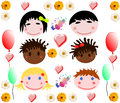 Collection of merry baby faces of different races on a white background