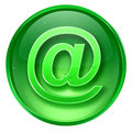 mail icon green, isolated on white background.