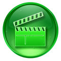 movie clapper board icon green, isolated on white background.
