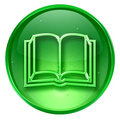 book icon green, isolated on white background.