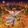 Scarecrow with pumpkins.