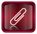 Paper clip icon dark red, isolated on white background
