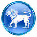 Lion zodiac button icon, isolated on white background.