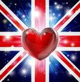 Love UK flag heart background