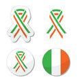 Irish ribbon flag labels - St Patricks Day celebration