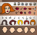 woman face elements set cartoon illustration