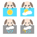 Paper weather dog icon illustration