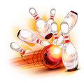 Bowling ball crashing into the shiny pins